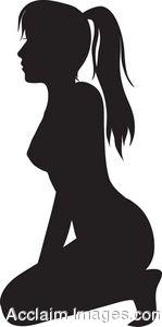 Clip Art Silhouette of a Kneeling Woman.