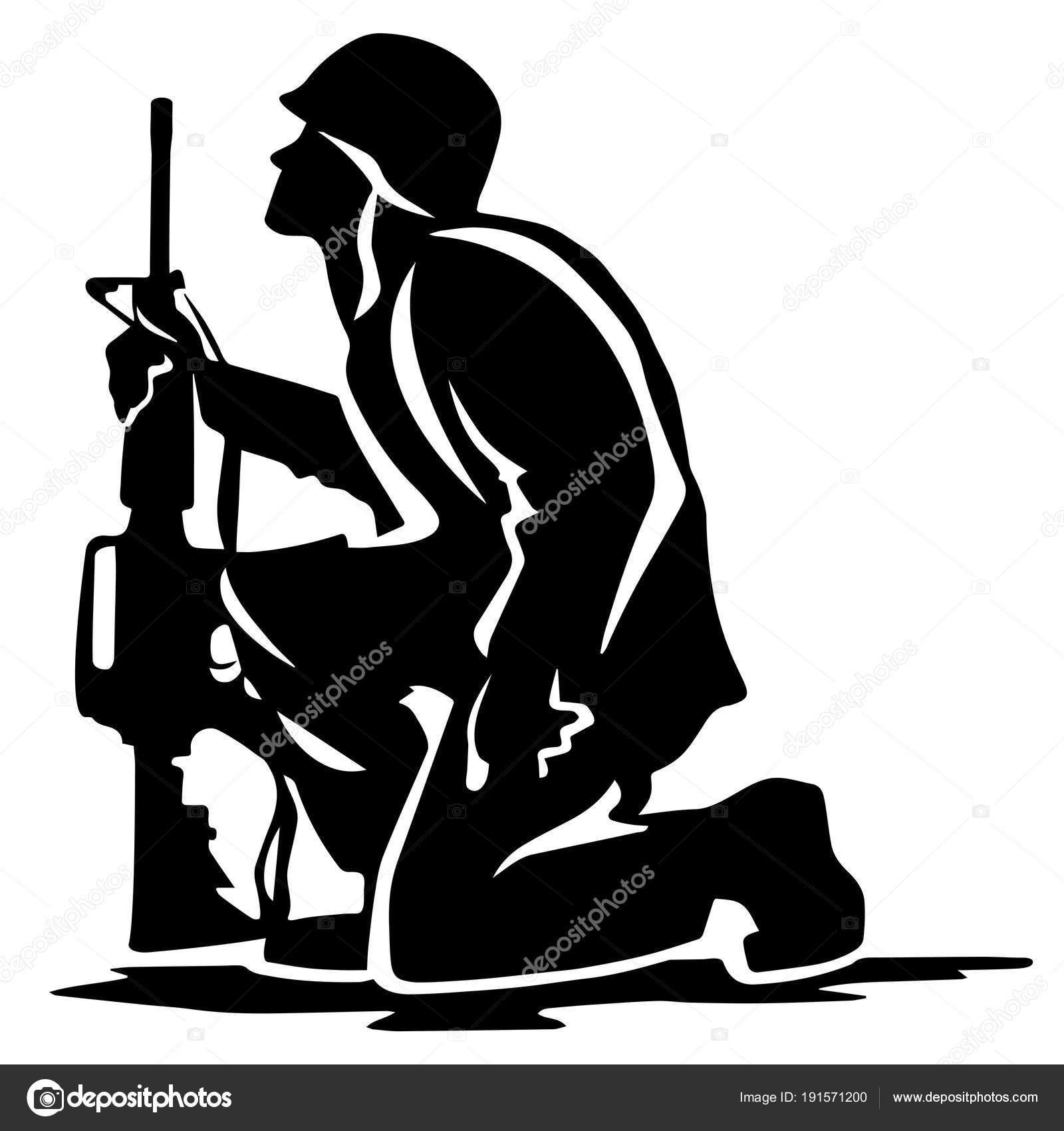 Clipart: kneeling soldier.