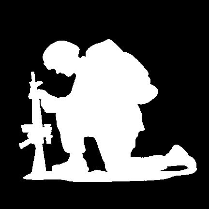 This is the original The Kneeling Soldier standard decal in White.