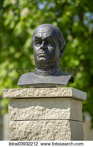 """Stock Photo of """"Bust, monument to Father Sebastian Kneipp, spa."""