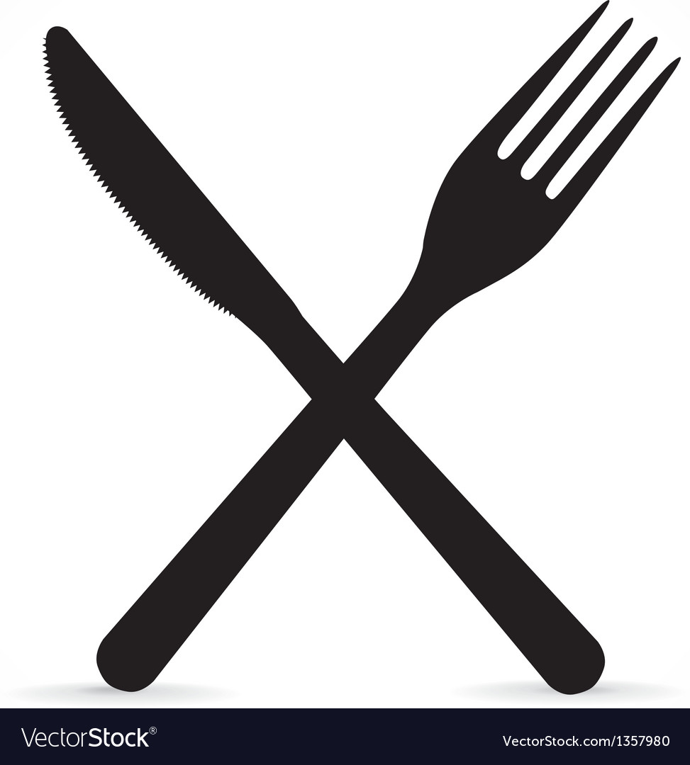 Fork And Knife Silhouette Vector.