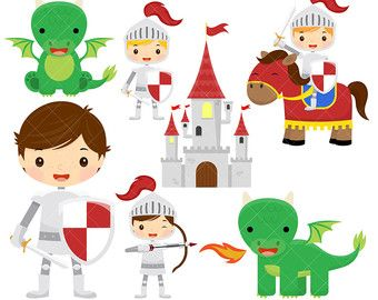 Knights and Dragons Clipart, Knight Clipart, Dragon Clipart.