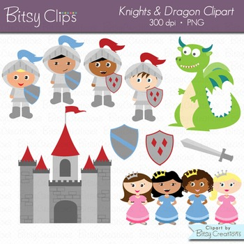 Knights and Dragon Clipart Set with Black & White Outlines Commercial Use.