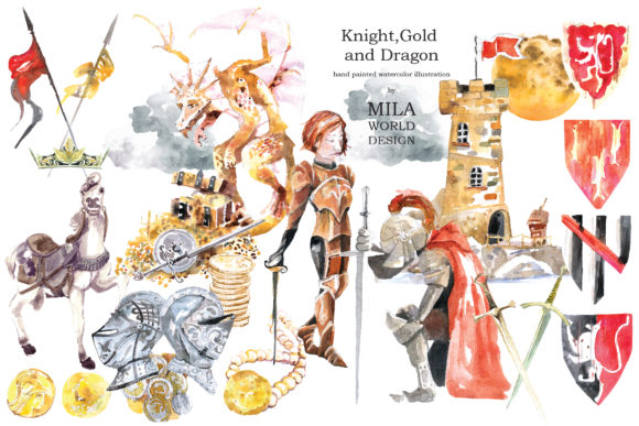 Watercolor Knight and Dragon Clipart.