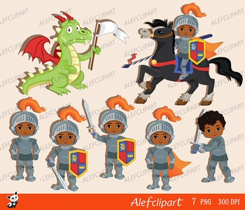 Knight and Dragon. Clipart Set/ African American, Multicultural..