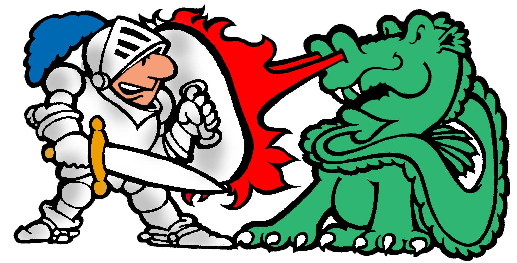 Knight Slaying Dragon Clipart.
