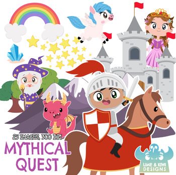 Mythical Quest Clipart, Instant Download Vector Art, Clip Art, Knight,  Princess.