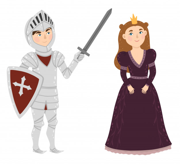 Brave knight and princess. medieval characters. Vector.