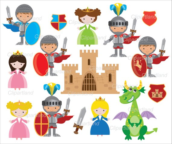 INSTANT Download. Knights, princess and dragon clip art.