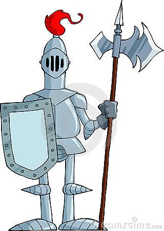 Cartoon Skinny Knight In Armor Stock Photography.