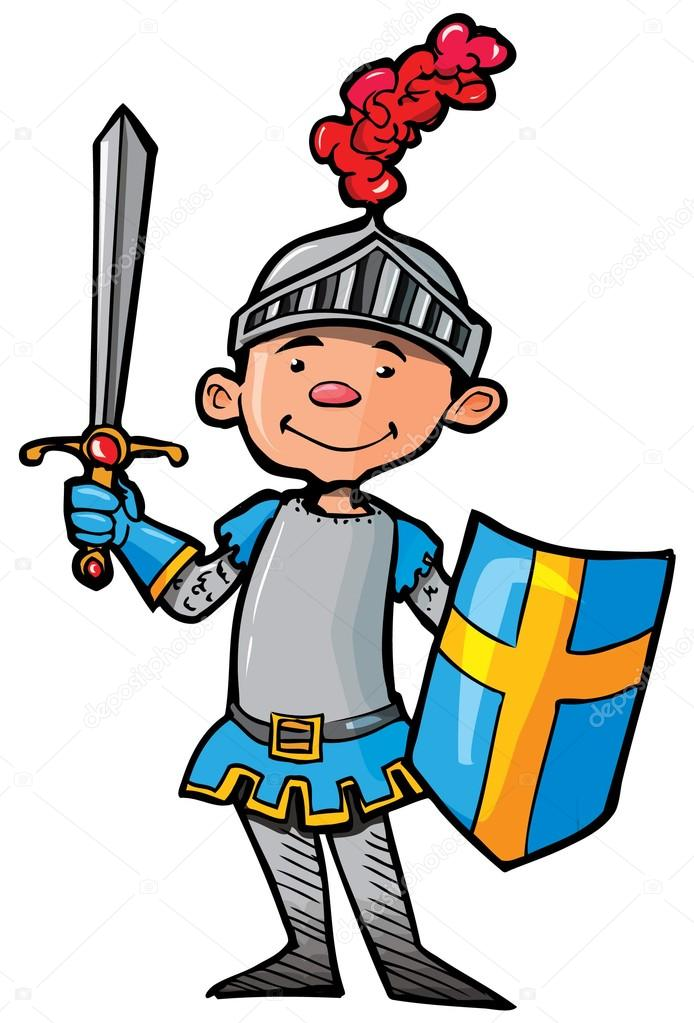Cartoon knight in armour with a sword — Stock Vector © antonbrand.