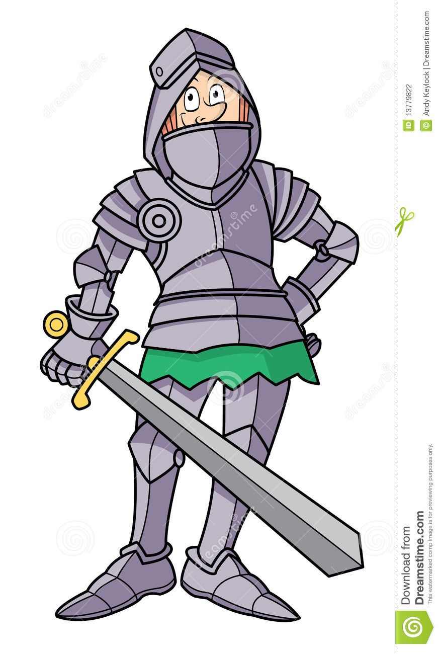 Cartoon Skinny Knight In Armor Stock Photography.