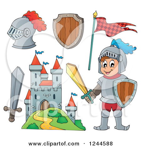 Clipart of a Happy Knight Boy with Gear and a Castle.