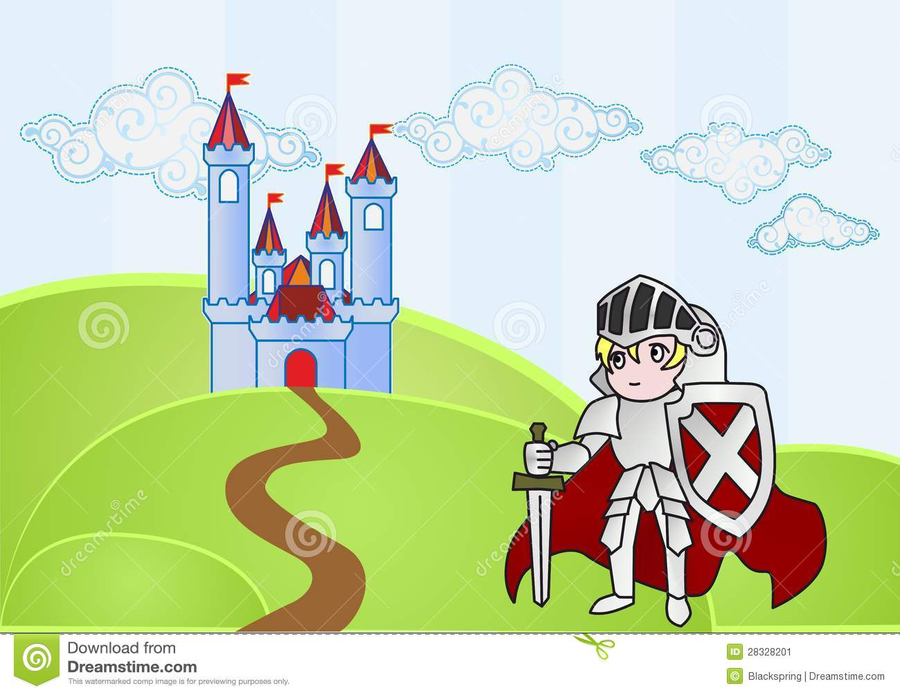 Baby Knight With Castle On Background Stock Image.