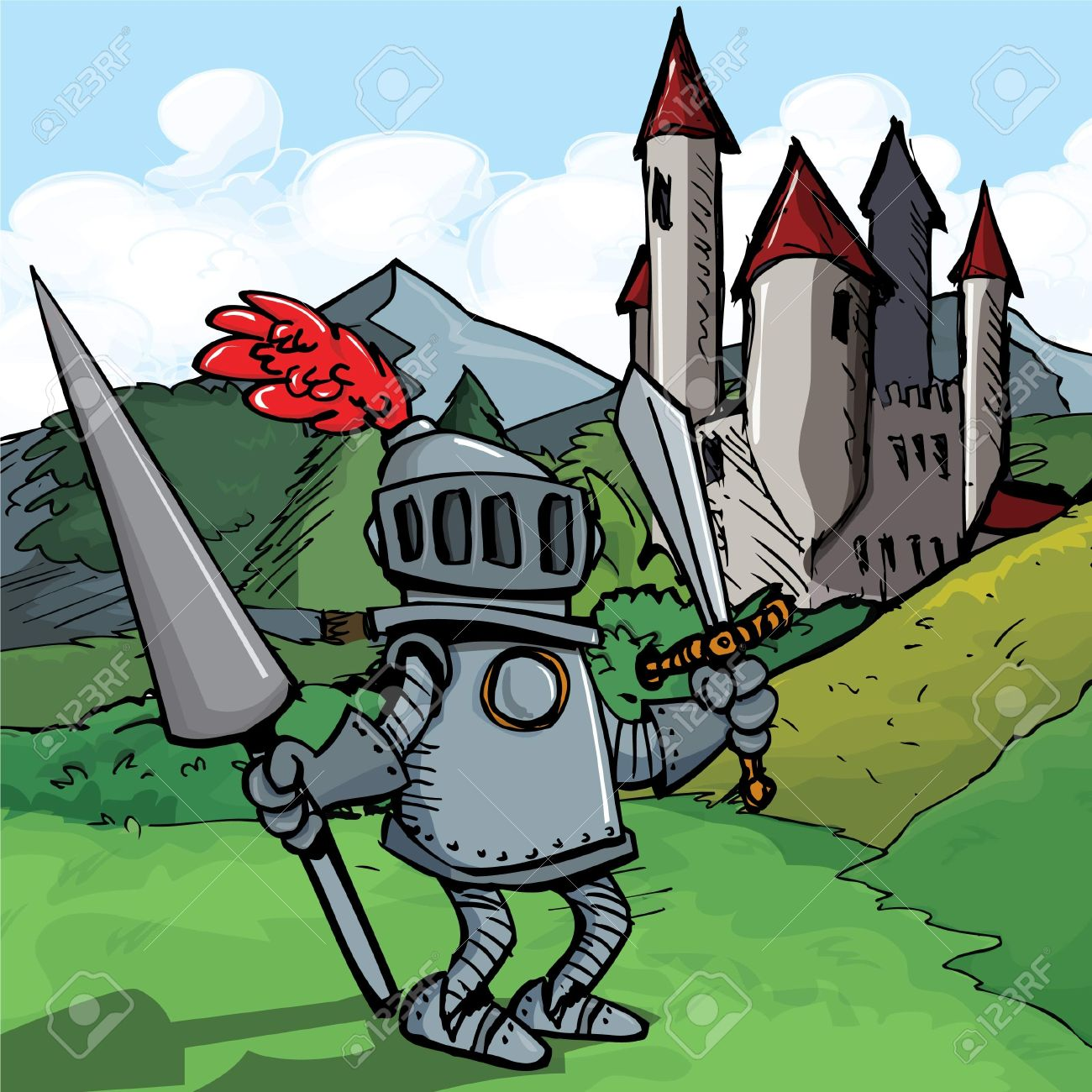 Cartoon Knight In Armour With A Spear. He Is In A Fiels In Front.