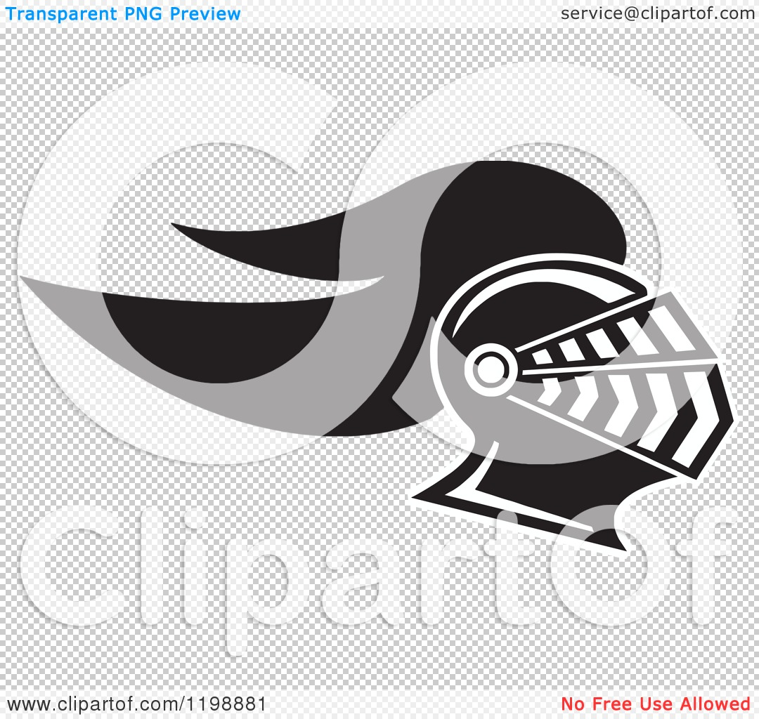 Clipart of a Black and White Knight Helmet.