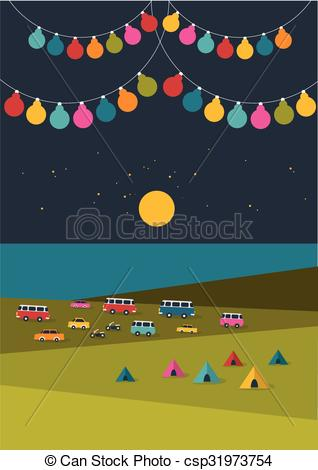 Clipart Vector of Summer night festival, party music poster.