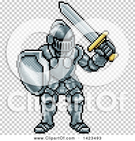 Clipart of a Retro 8 Bit Pixel Art Video Game Styled Knight.