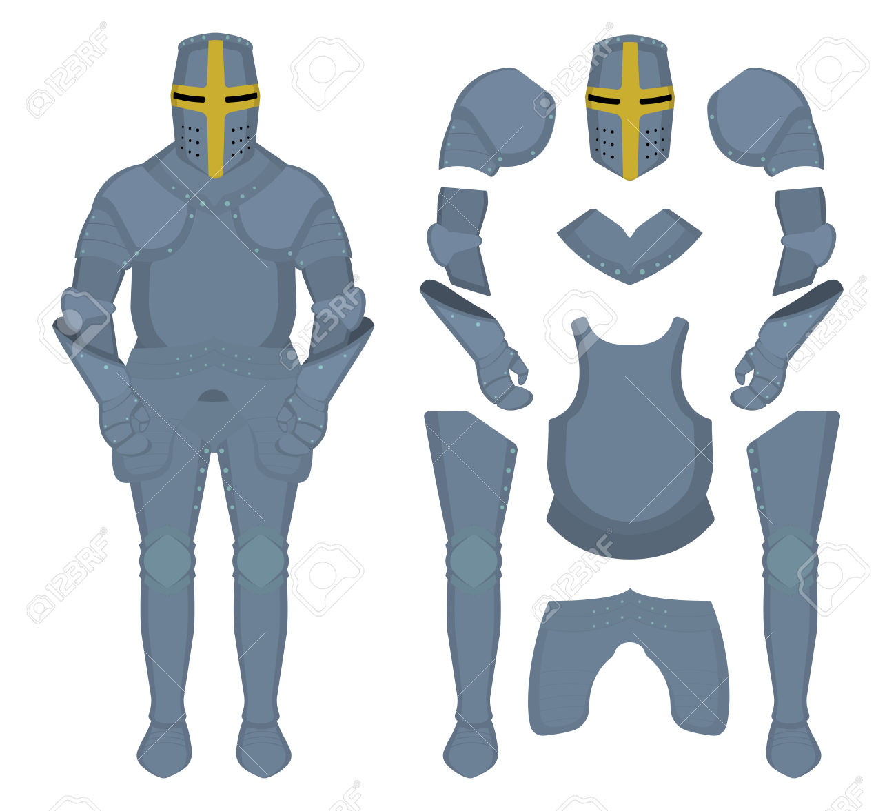 Medieval Knight Armor Parts. Game Resources. Vector Clip Art.