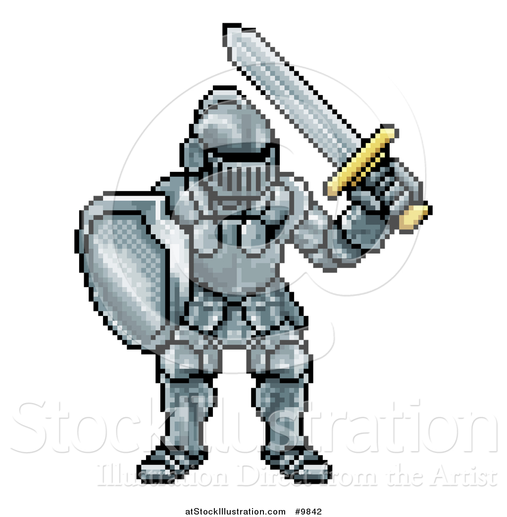 Vector Illustration of a Retro 8 Bit Pixel Art Video Game Styled.