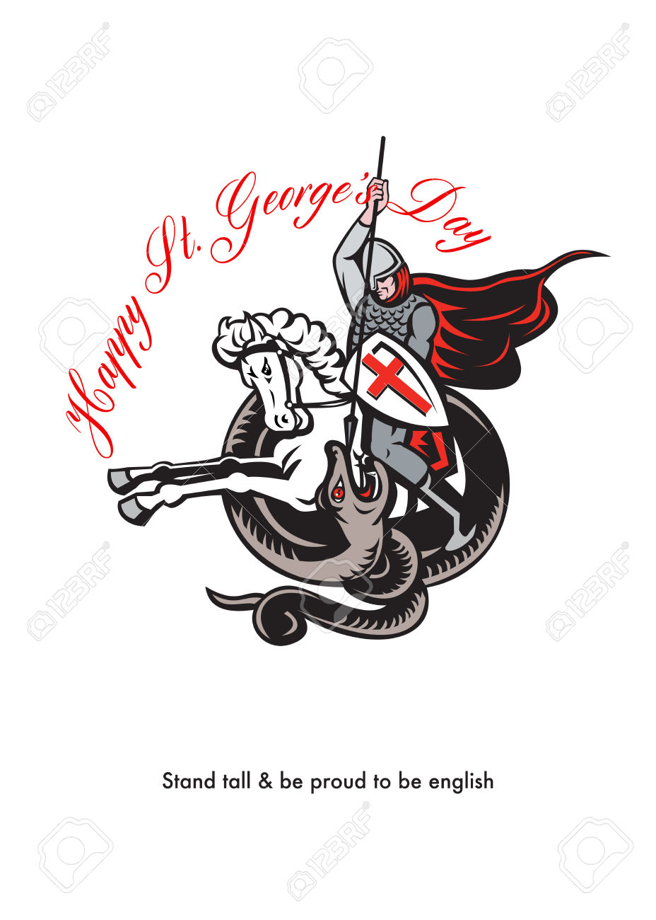 Poster Greeting Card Illustration Of Knight In Full Armor Fighting.