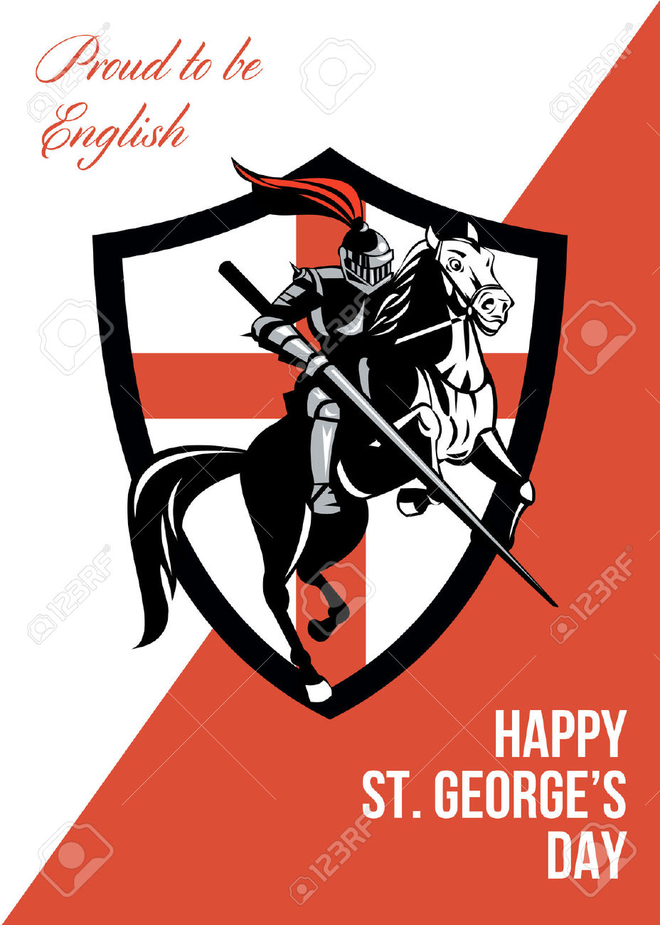 Poster Greeting Card Illustration Of Knight In Full Armor Riding.