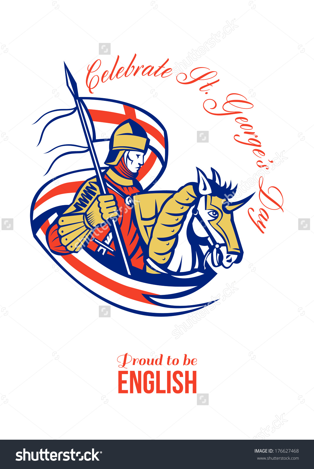Poster Greeting Card Illustration Knight Full Stock Illustration.