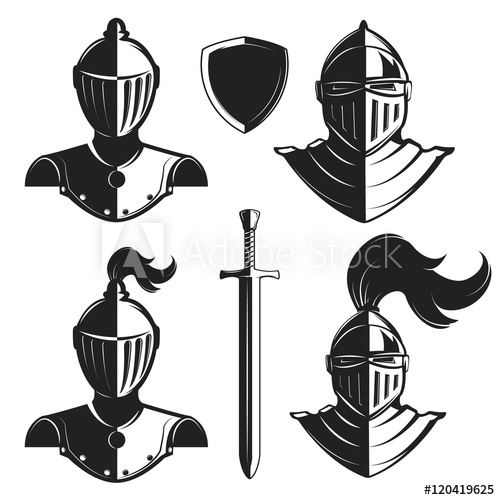 Set of knights helmets isolated on white background.