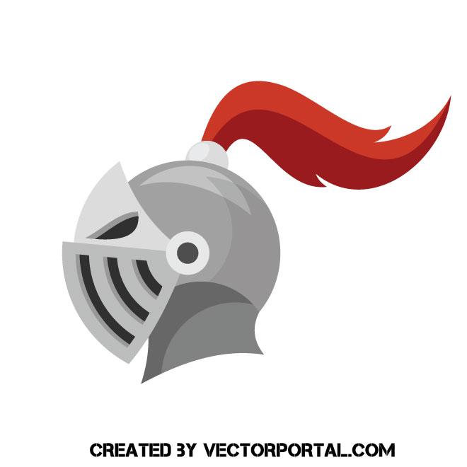 Knight helmet vector clip art.