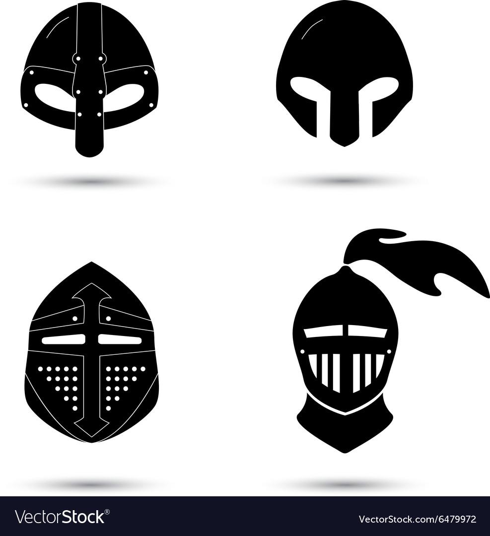 Set of monochrome knight helmets isolated.