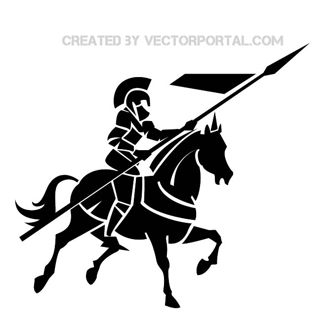 Knight on Horse Image Free Vector.