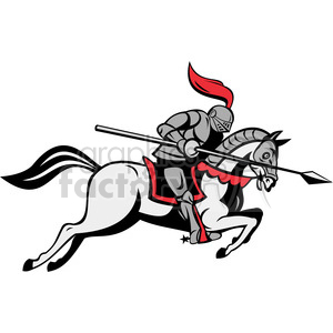 knight with jousting lance riding horse clipart. Royalty.
