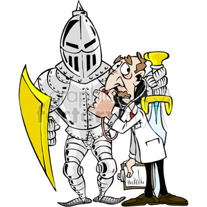 cartoon knight in shining armor clipart. Royalty.