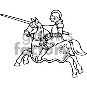 black and white knight on a horse art clipart. Royalty.