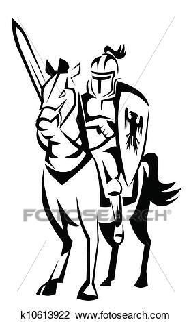 Knight rider horse Clipart.