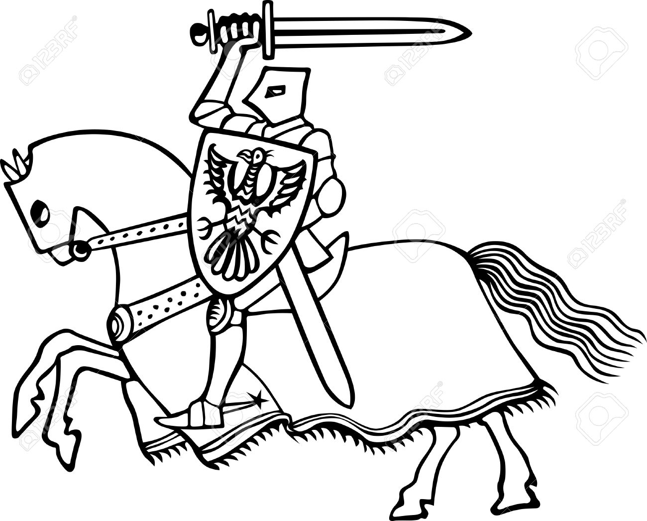 Knight On Horse On White Royalty Free Cliparts, Vectors, And Stock.