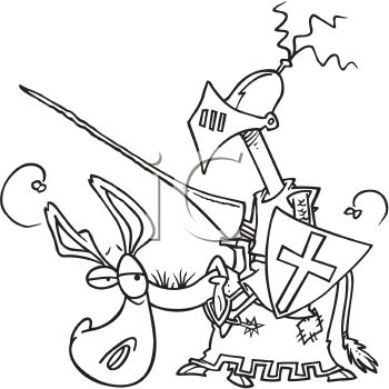 Black and White Cartoon of a Knight on a Sad Looking Horse.