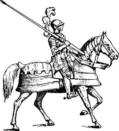 Knight On Horse Clipart Black And White Clipground