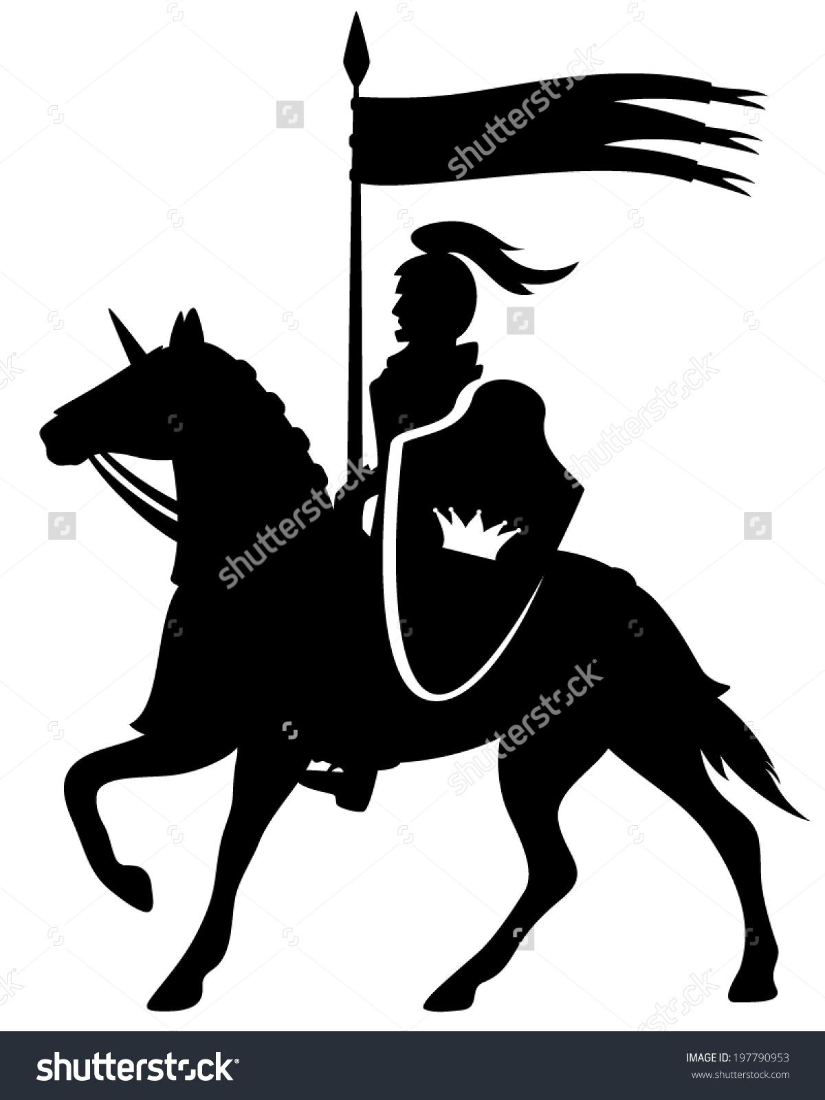 Royal Knight Crown Shield Riding Horse Stock Vector 197790953.