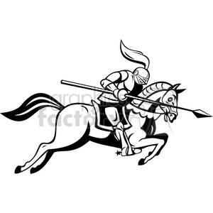 knight on horse clipart black and white #14
