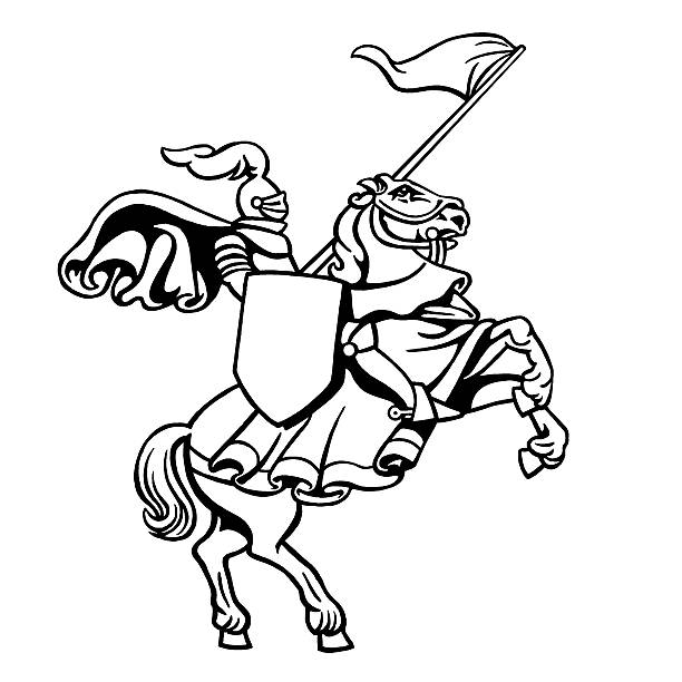 Colour In Crusader Knight On Horse Clip Art, Vector Images.