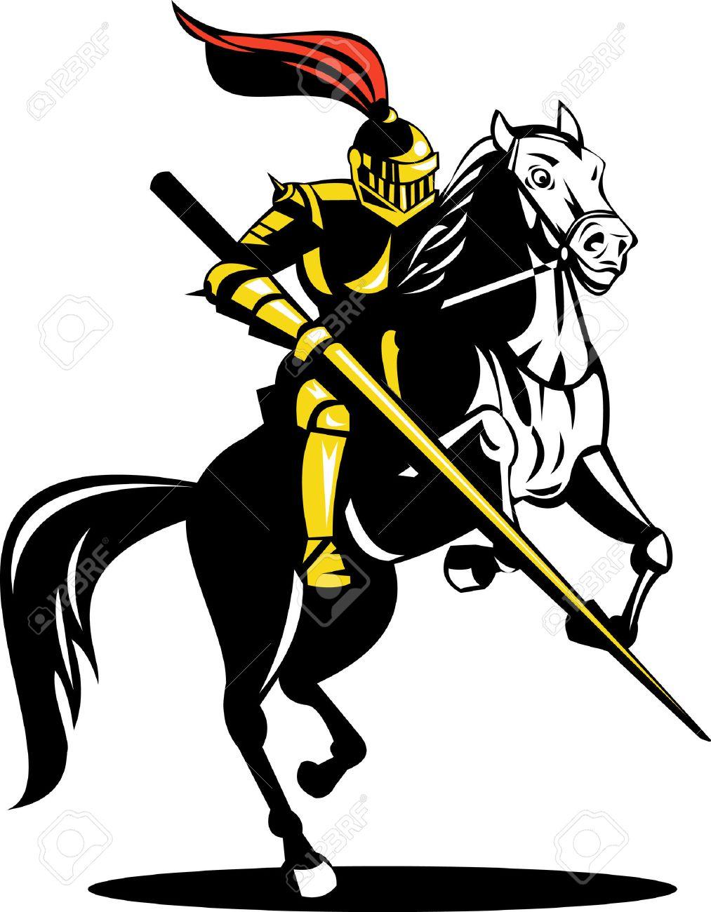 Knight on horseback with lance.