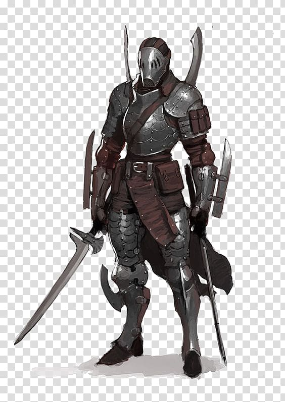 Gray armor illustration, Knight Warrior Concept art Character.