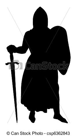 Drawings of Medieval Knight silhouette isolated on a white.