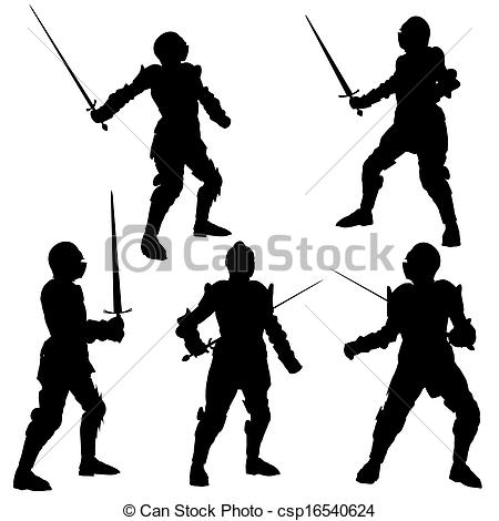 Clip Art of Medieval Knight Silhouettes.