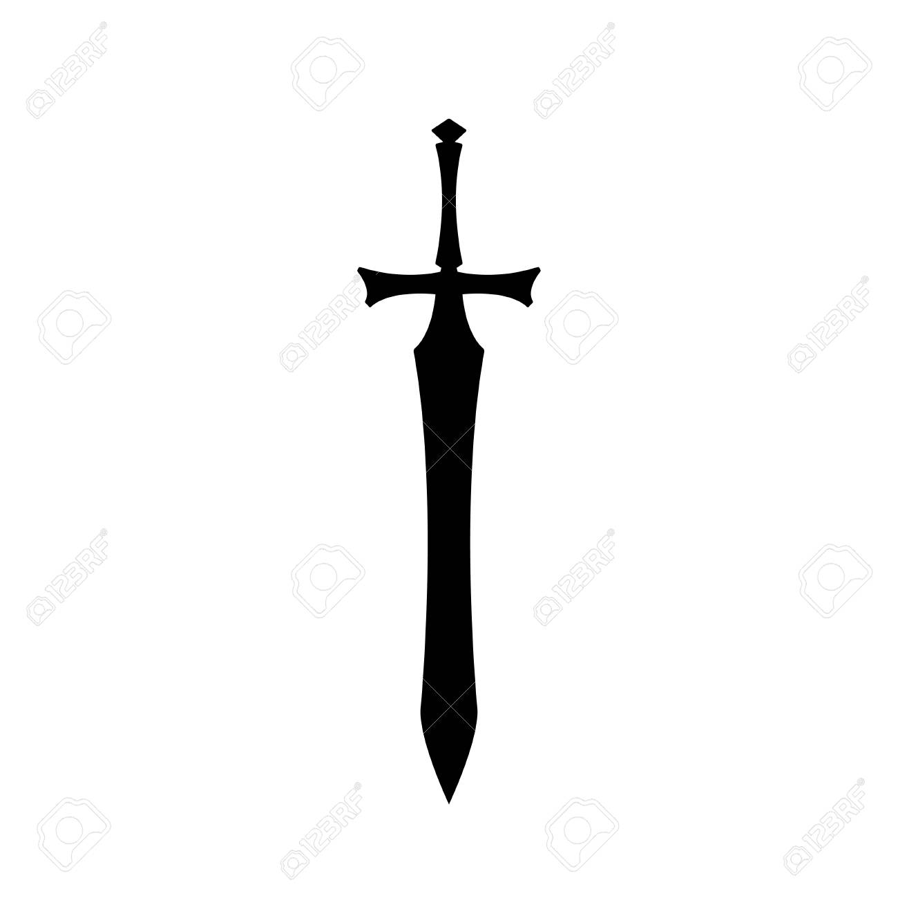Black silhouettes of medieval knight sword on white background.