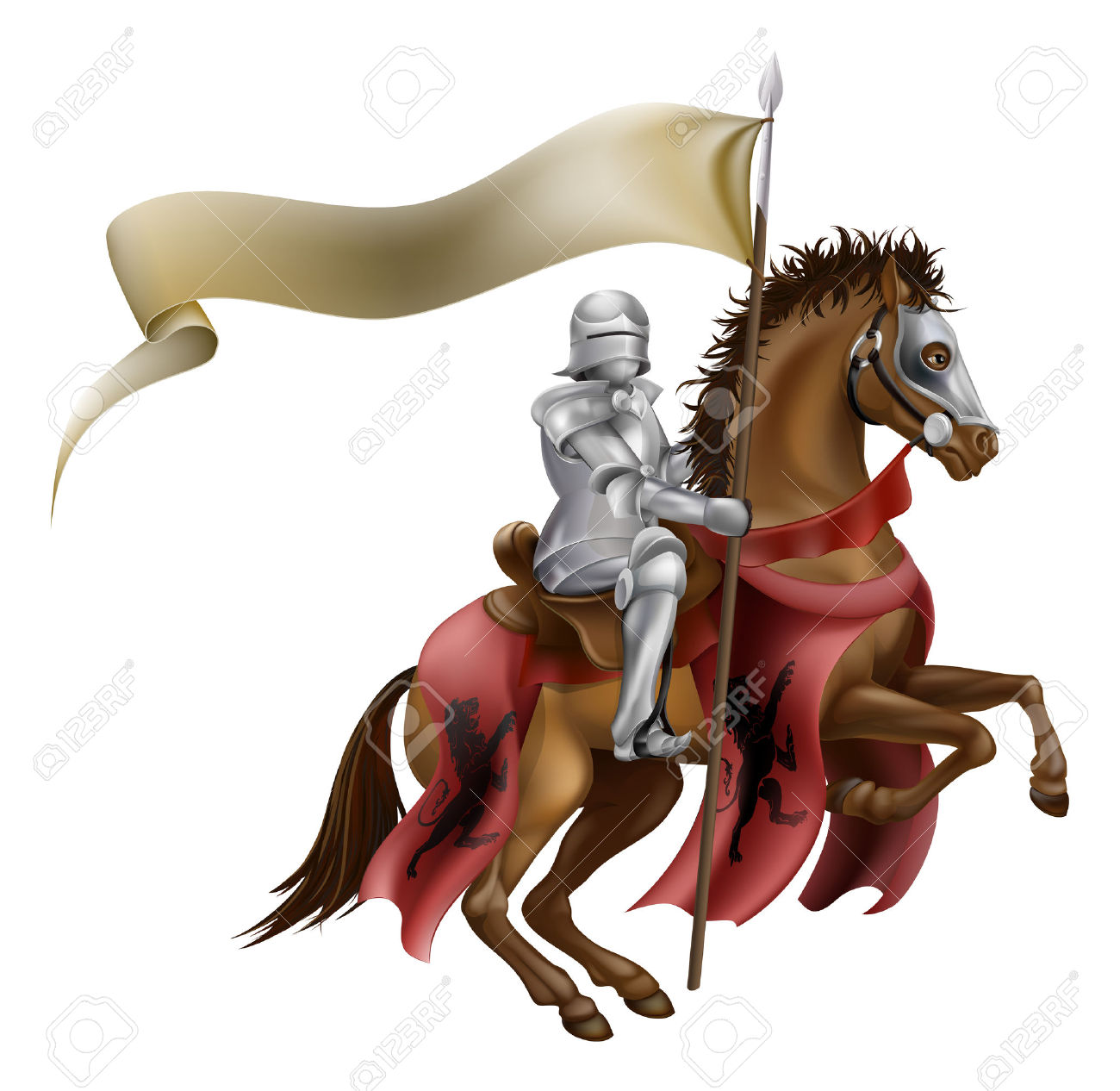 Knights holding flag clipart.