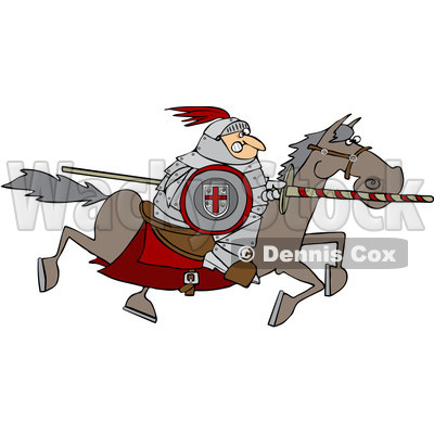 Clipart Medieval Jousting Knight Holding A Lance On A Rearing.