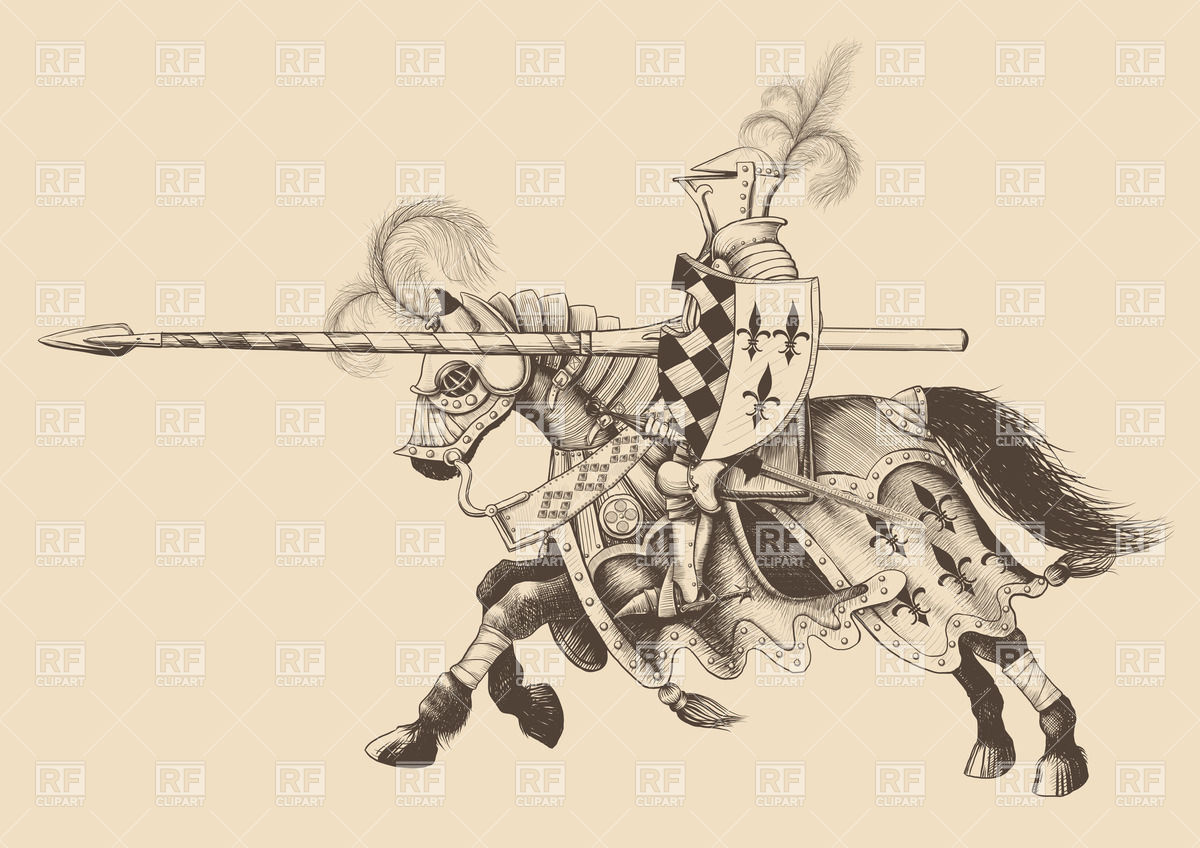 Horseback knight of the tournament with a spear.