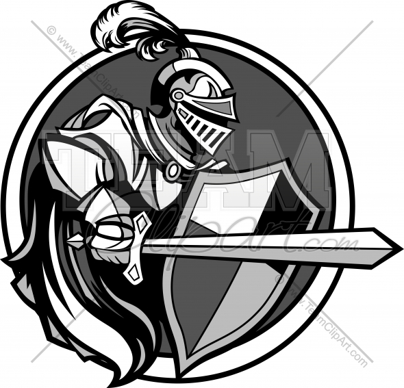 Medieval Knight with Sword and Shield Vector Image.